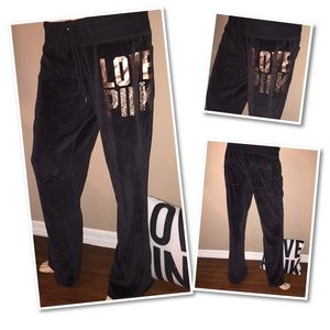 VS PINK Velour Pants LARGE